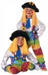 Your little one has never looked so cute & colorful. Costume includes: Hat with flower and attched bright yellow yarn hair. One Piece Jumpsuit with tiedye colorful pant print with white shirt and blue tie attached.