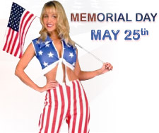 Memorial Day is a United States federal holiday that is observed on the last Monday of May; commemorates the members of the United States armed forces who were killed in war. For a Memorial Day Party, we have a variety of costumes like soldier costume, army costumes, pilot costumes, navy costume and many more patriotic costumes and Uncle Sam costumes to choose from.