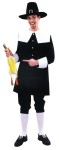 Pilgrim Man Adult Costume - Rental Quality. 3-piece pilgrim set is made of heavy knit black polyester. Knickers have elastic waist and leg openings. Includes coat with black buttons, white collar and cuffs. Hat, shoes, stockings and chicken prop not included.
