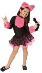 Cutie Cat Child Costume - Dress with attached petti skirt, tail, furry chest and furry ear headband.