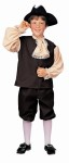 Colonial Boy Child Costume includes black hat, jabot, brown pants and brown vest with sleeves.